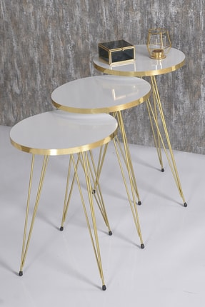GOLDFALEZ Zigon Sehpa Ve Orta Sehpa Beyaz Elips Set Tel Ayak Gold 2