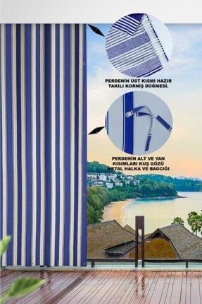 ALTINPAMUK Her Ölçüde Enxboy Seçenekli Kuşgözlü Balkon Perdesi Balkon Brandası Mavi Beyaz- 1