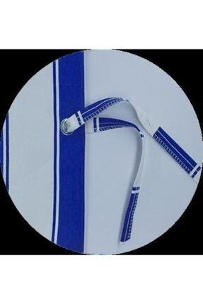 ALTINPAMUK Her Ölçüde Enxboy Seçenekli Kuşgözlü Balkon Perdesi Balkon Brandası Mavi Beyaz- 2