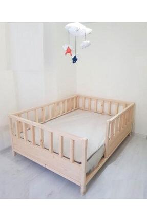 Baby Kinder Kahverengi Roofless Montessori Bebek ve Çocuk Karyolası 2