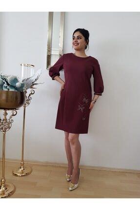 Kadın Bordo Robadan Mini Elbise FERO0000744