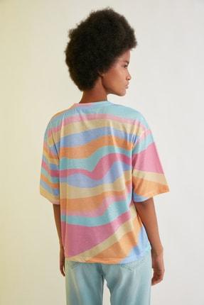 TRENDYOLMİLLA Çok Renkli Loose Örme T-Shirt TWOSS21TS0910 4
