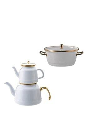 Emsan Troy Çaydanlık Ve 20 Cm Kızartma Tenceresi Beyaz 0