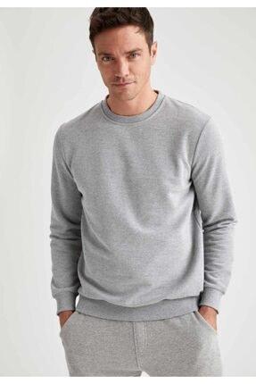 Defacto Erkek Grey Melange Bisiklet Yaka Regular Fit Sweatshirt R2619AZ20AU 0