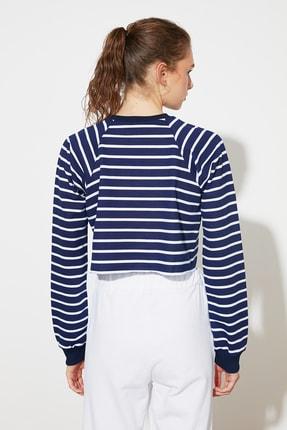 TRENDYOLMİLLA Lacivert Crop Örme  Sweatshirt TWOSS21SW0145 3