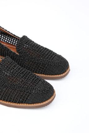 Marjin Toliva Kadın Örgü Hasır Loafer Ayakkabısiyah 1