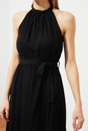 TRENDYOLMİLLA Siyah Kuşaklı Elbise TWOSS19EL0155 3