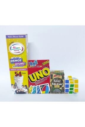 Brother Toys 54 Parça Denge Oyunu 108 Kartlı Uno 55 Kartlı Anlat Bakalım Kartları Rubik Zeka Küpü 4'lü Set 1