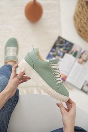 Straswans Kadın Yeşil Papel Deri Spor Ayakkabı 2