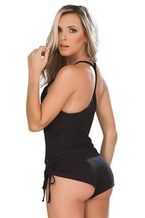 EMINNA Kadın Pijama Siyah Şortlu Seksi Takım 1
