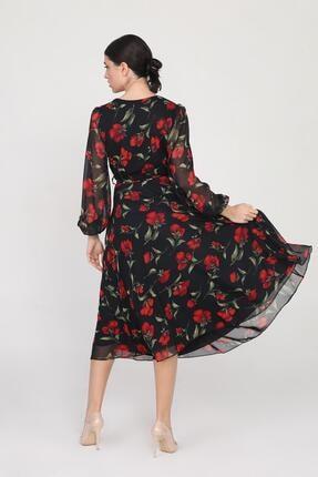 Ceylen Kadın  Siyah Kruvaze Yaka Kollu Midi Şifon Elbise 2
