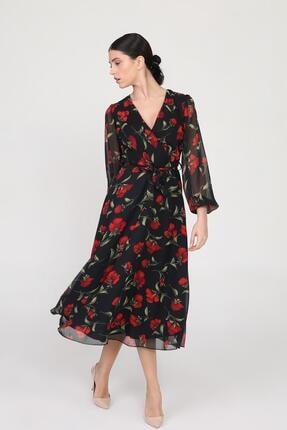 Ceylen Kadın  Siyah Kruvaze Yaka Kollu Midi Şifon Elbise 3