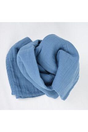 Cigit Erkek Bebek Mavi Pamuklu Müslin Örtü 90x100 cm 1
