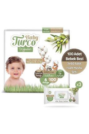 Baby Turco Doğadan 6 Numara Xlarge 100 Adet + 3x60 Doğadan Islak Havlu Seti 0