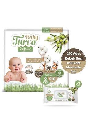 Baby Turco Doğadan 2 Numara Mini 210 Adet + 3x60 Doğadan Islak Havlu Hediyeli 0