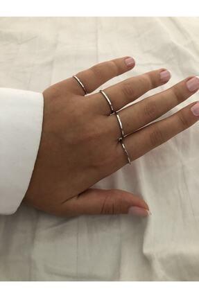 The Y Jewelry Kadın Gümüş Renk 4lü Eklem Yüzük 2