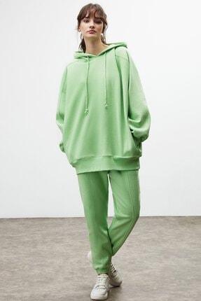 GRIMELANGE VIENNA Kadın Yeşil Ekstra Oversize Yan Cepli Kapüşonlu Sweatshirt 2