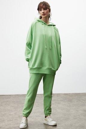 GRIMELANGE VIENNA Kadın Yeşil Ekstra Oversize Yan Cepli Kapüşonlu Sweatshirt 3