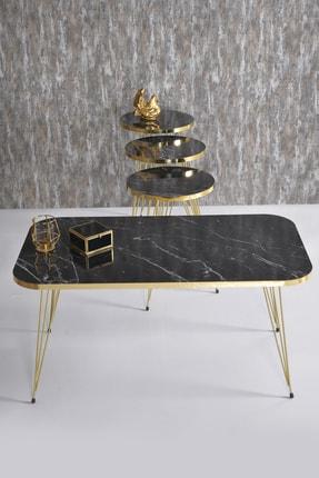 GOLDFALEZ Zigon Sehpa Ve Orta Sehpa Kr Set Gold Bendir Tel 3