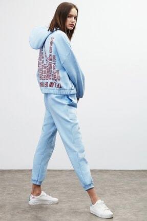 GRIMELANGE CHAYA Kadın Mavi Önü ve Arkası Baskılı Kapüşonlu Sweatshirt 2