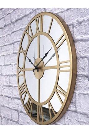 Markakanvas Aynalı Metal Duvar Saati Altın Çap 50 cm 1