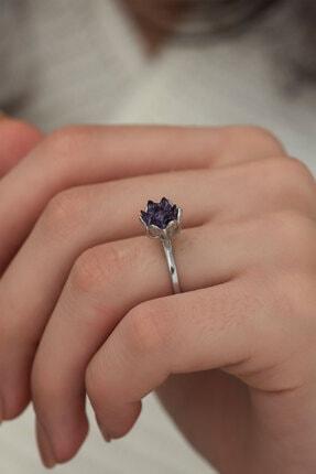 Ervanur Gümüş Kaplama Ametist Mor Zirkon Taşlı Lotus Çiçeği Kadın Yüzük 0