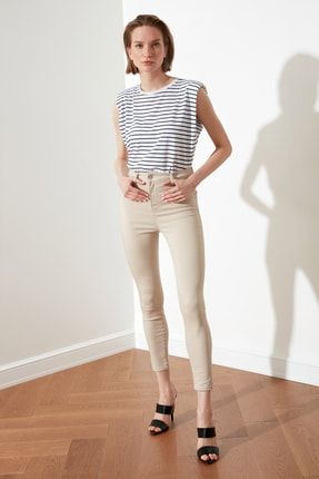 TRENDYOLMİLLA Taş Yüksek Bel Jegging Jeans TWOSS21JE0252 0