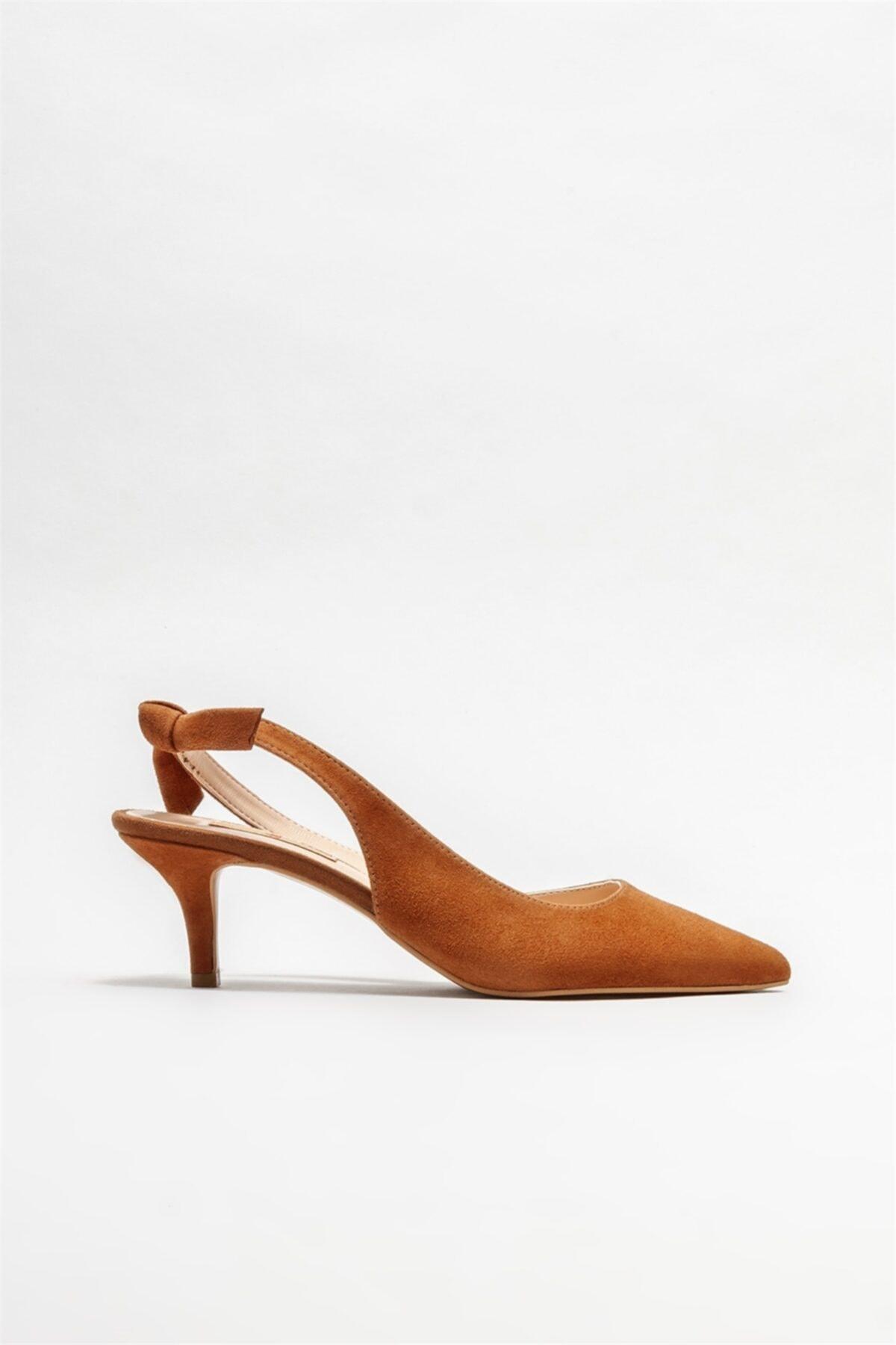 Naturel Deri Kadın Topuklu Ayakkabı