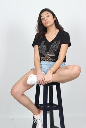 AlpinTeks Kadın Siyah V Yaka Kartal Baskılı Taş İşlemeli T-shirt 2