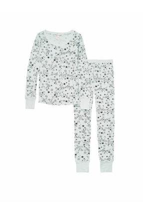 Victoria's Secret Kadın Beyaz Termal Uzun Pijama Takımı 3