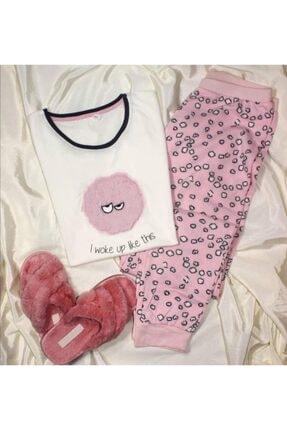 ÖNTUĞ Kadın  Pembe Tüylü Pijama Takımı 0