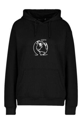 FAVORİZADE Ünisex Siyah Earth Baskılı Kapüşonlu Sweatshirt 0