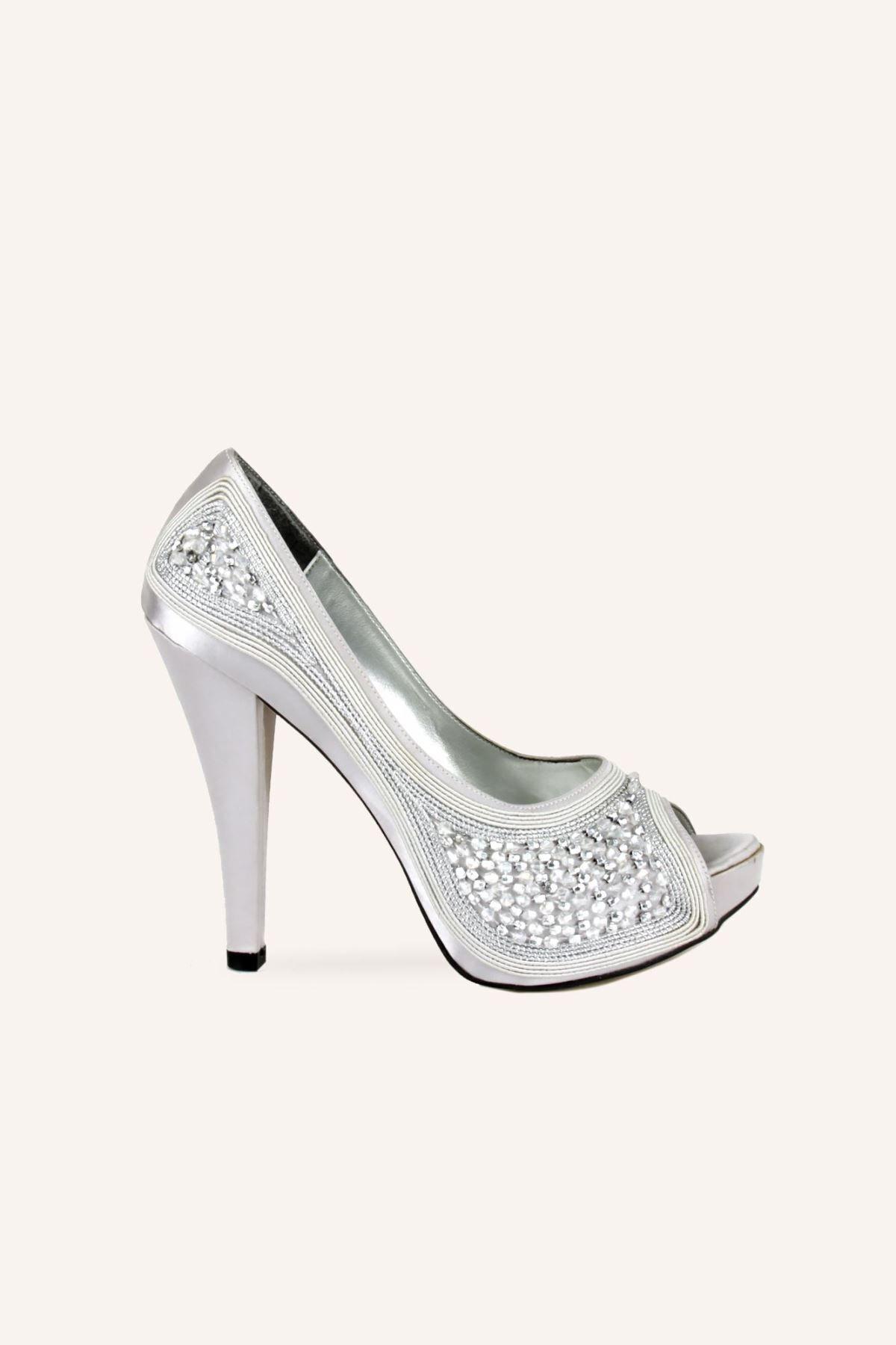 Marcatelli Gümüş Saten Kristal Topuklu Ayakkabı