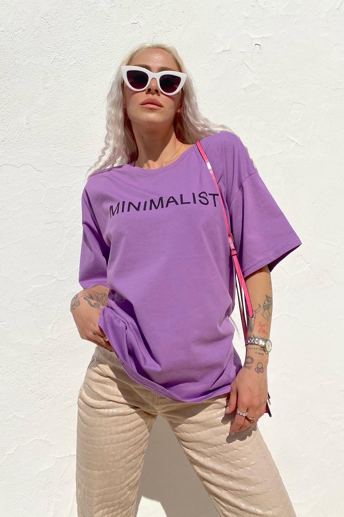 Kadın Mor Minimalist Baskılı Bisiklet Yaka Tshirt
