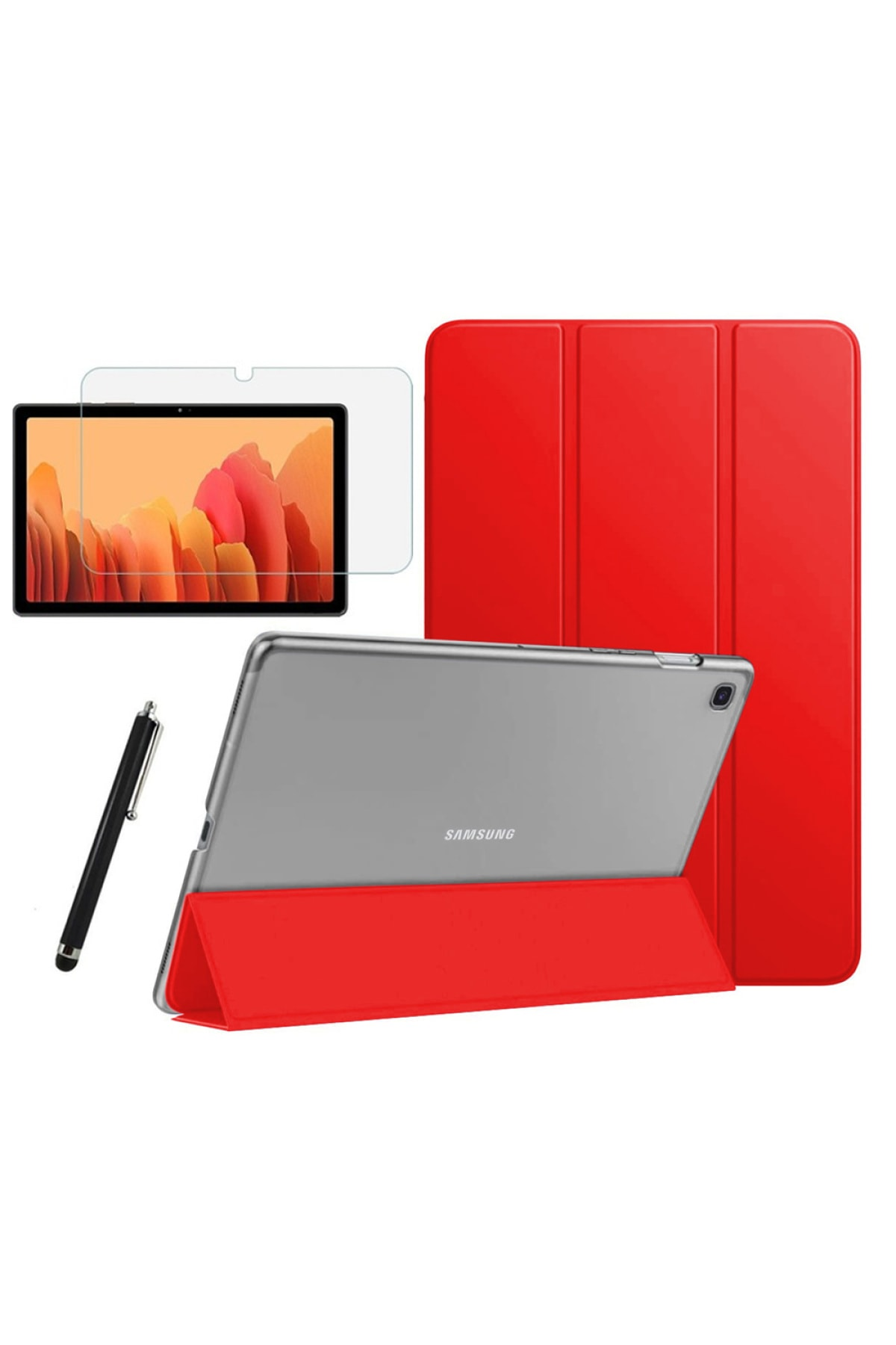 Galaxy Tab A7 Sm T500 T505 T507  Uyumlu Smart Kapak Tablet Kılıfı + Ekran Koruyucu + Kalem 10.4 Inç