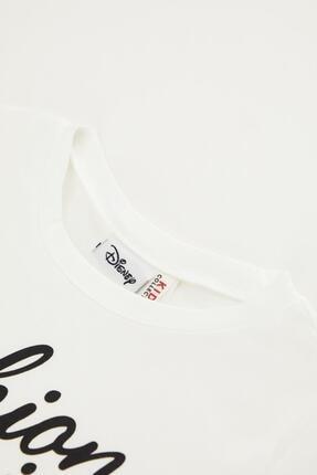 Defacto Kız Çocuk Beyaz Minnie Mouse Lisanlı Kısa Kol Tişört 2