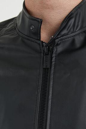 Densmood Slim Fit Yaka Ve Kol Detaylı Siyah Deri Ceket 1