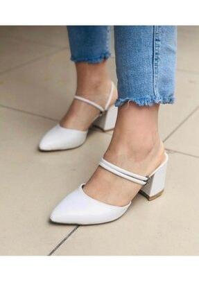 BY MAY SHOES Kadın Beyaz Topuklu İp Sandalet Terlik Ayakkabı 1