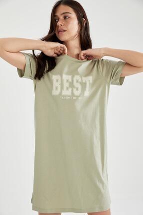 Defacto Slogan Baskılı Slim Fit Mini Tişört Elbise 0