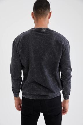 Defacto Oversize Fit Bisiklet Yaka Yıkama Efektli Sweatshirt 3