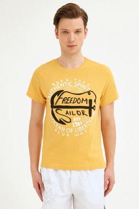 Fullamoda Erkek Sarı Bisiklet Yaka Freedom Baskılı Tshirt 2