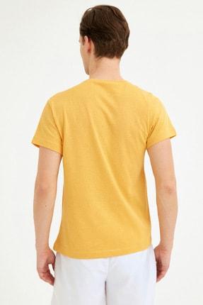 Fullamoda Erkek Sarı Bisiklet Yaka Freedom Baskılı Tshirt 3