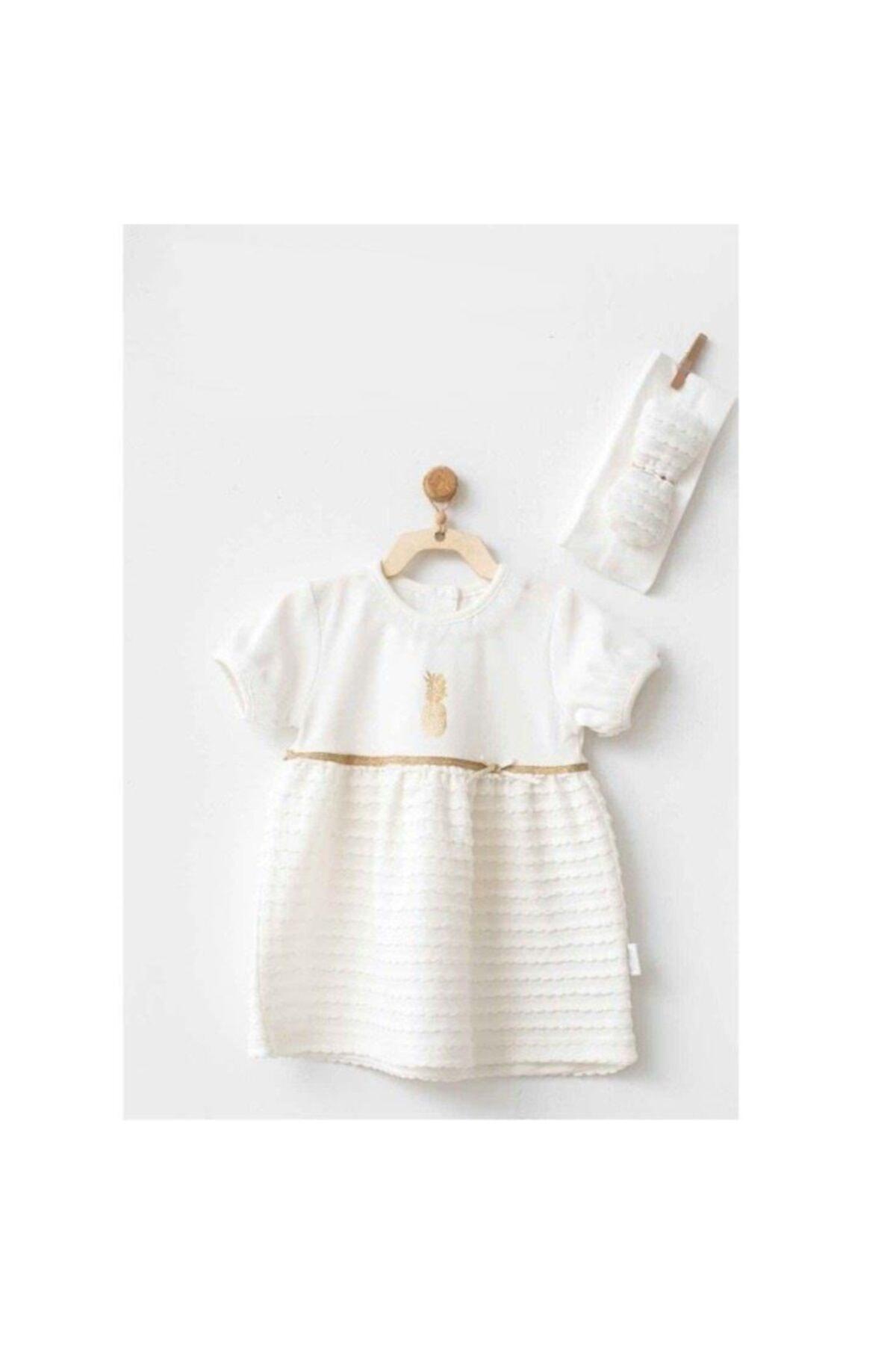 Kız Bebek Ekru Elbise ve Bandana 2'li Set
