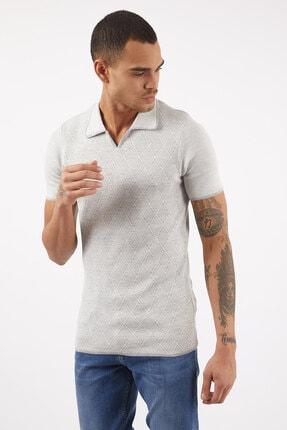 LAGOS Erkek Gri/ekru Slim Fit Geometrik Desenli Polo Yaka Pamuklu Triko Tişört 1