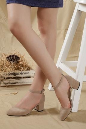 Kadın Krem-suet Karnı Yarık Bilekten Bantlı Topuklu Ayakkabı ... 48210280