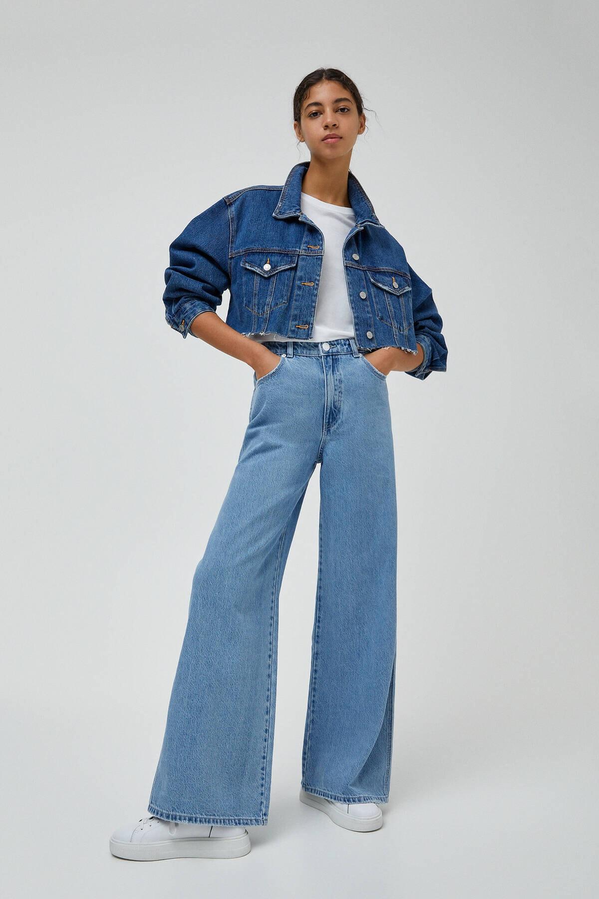 Pull & Bear Kadın Orta Mavi Yüksek Bel Geniş Paça Jean 04685302 0