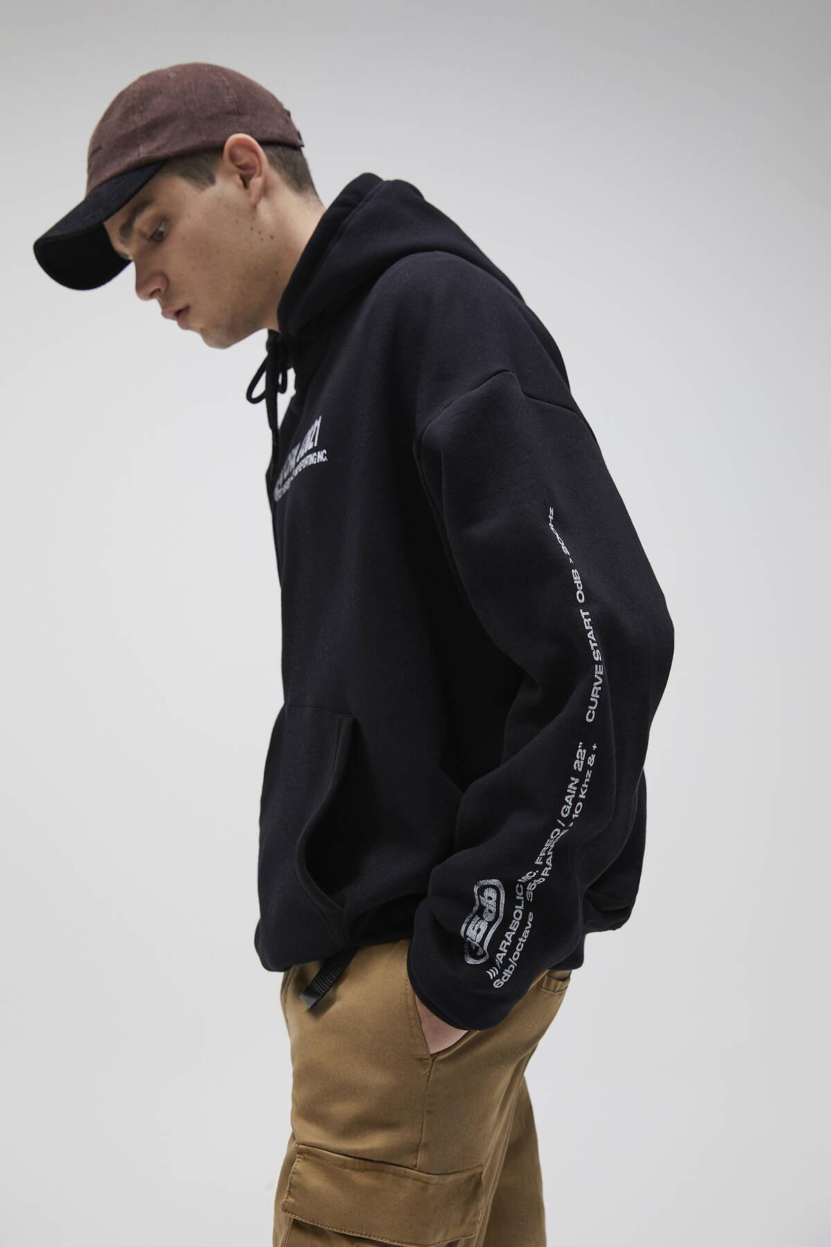 Pull & Bear Erkek Siyah Oversize Stwd Kapüşonlu Sweatshirt 04592526 4