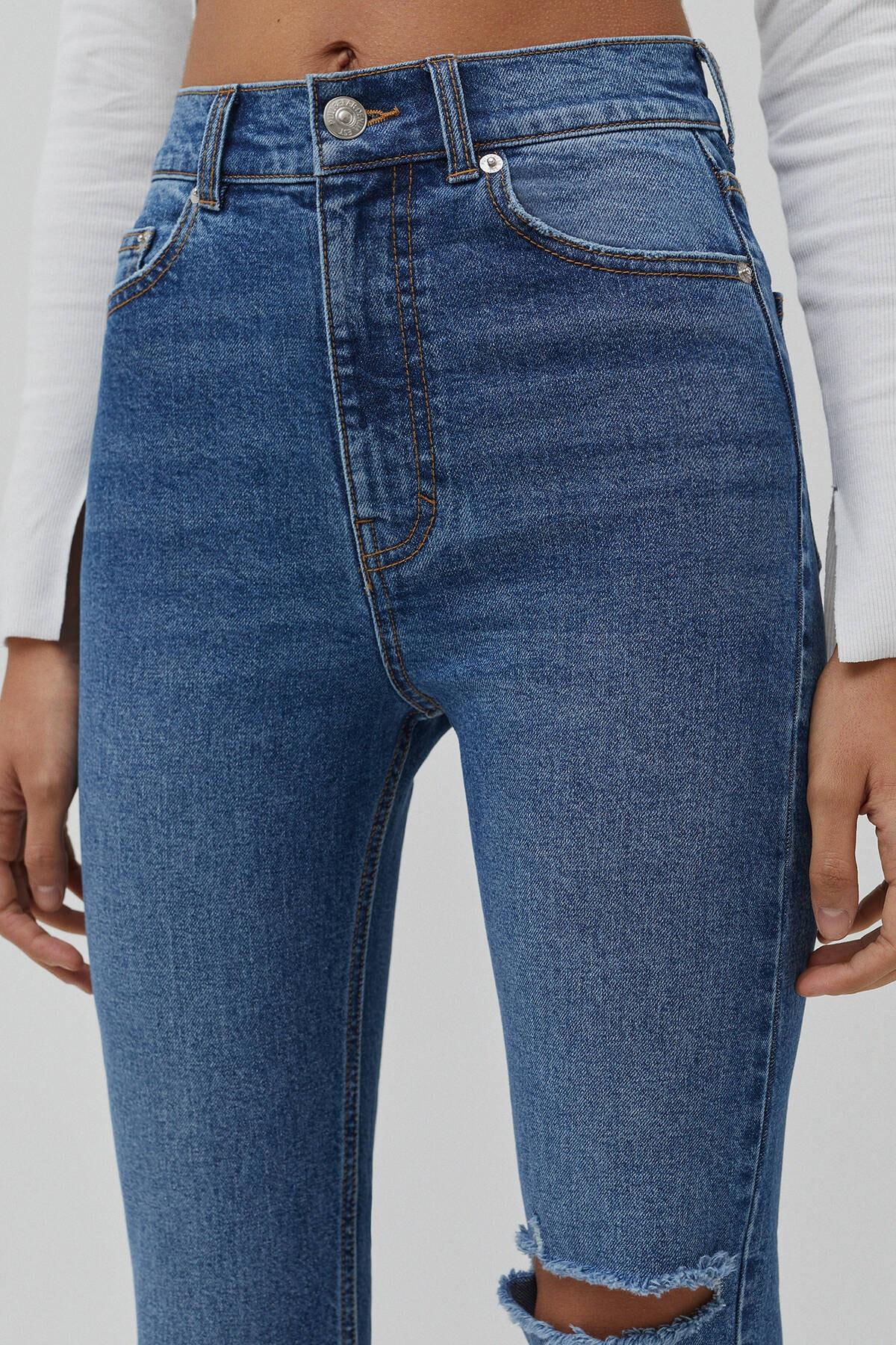 Pull & Bear Kadın Mavi Süper Yüksek Bel Slim Fit Mom Jean 04681315 4