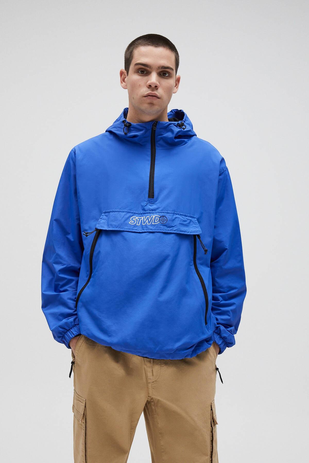 Pull & Bear Erkek Yoğun Mavi Basic Stwd Logolu Kanguru Mont 04711541 0