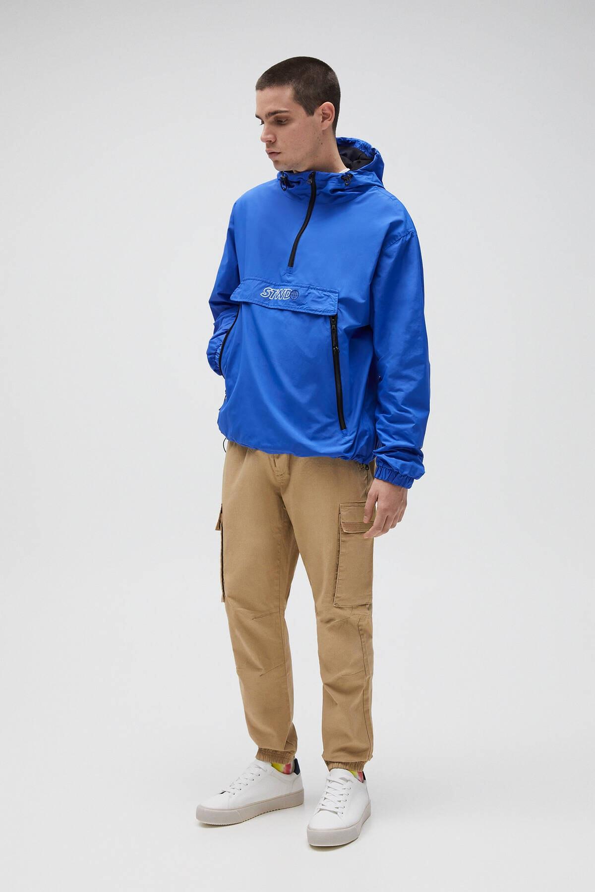 Pull & Bear Erkek Yoğun Mavi Basic Stwd Logolu Kanguru Mont 04711541 2